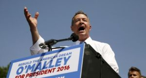 Former Governor of Maryland Martin O'Malley formally announces his campaign for the 2016 Democratic presidential nomination in Federal Hill Park in Baltimore, Maryland. Photograph: Jim Bourg/Reuters