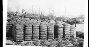 Cotton bales in New Orleans: one of the few Catholic cities in North America, it became a port of call for refugees from the failed rebellion of 1798. As a port city with a vibrant, internationally connected economy, New Orleans was rich in opportunity and free from British oppression. And there were also a number of well established Irish in town who could offer welcome and help. Photograph: Library of Congress