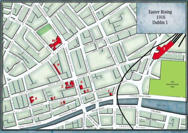 Map Of Ireland 1916.1916 Rising Dublin 1 Street Map