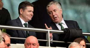 FAI Chief Executive John Delaney  with Paschal Donohoe TD Minister for Transport, Tourism and Sport, at the Republic of Ireland V England International Friendly. Photo: Eric Luke/The Irish Times