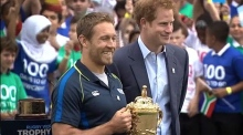 When Harry met Jonny: Prince Harry kicks off countdown to Rugby World Cup