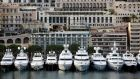 "Parallel parking: superyachts lined up in Port Hercule at the  ""Business of Luxury"" summit in Monaco. Photograph: Chris Ratcliffe/Bloomberg"