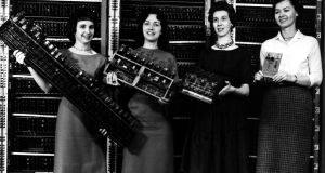 Some of the women responsible for programming the first all-electronic digital computer. They were considered by their employers to be suitable for the job because women were already working as switch operators at telephone exchanges
