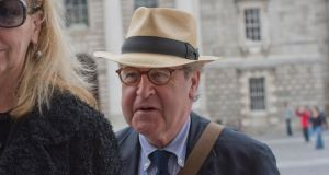 Author John Banville  at Trinity College Dublin arriving for the memorial service of Paolo Tullio, writer, food critic and Michelin Star-winning chef, who died recently. Photograph: Brenda Fitzsimons/The Irish Times