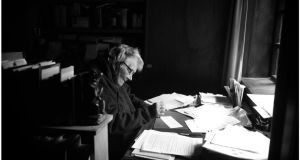 Generations: Writer Dervla Murphy (82) at work in  her home in Lismore Co Waterford. Photograph: Bryan O'Brien