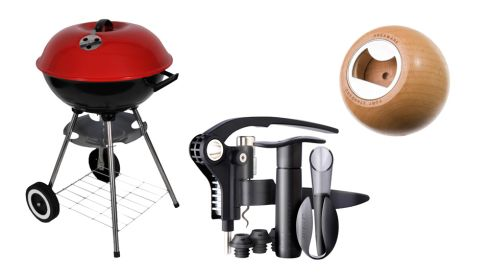 Charcoal kettle barbeque €25 Heatons Wine Essentials Set €125 Le Creuset at Brown Thomas Fort Standard Sphere Bottle Opener €25 April and the Bear