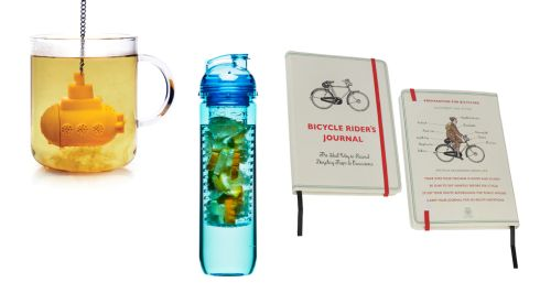 Tea sub €12.50 designist Water bottle with fruit piston €11 designist Bicycle jounal €6.95 dotcomgiftshop.com