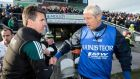 Kildare manager Jason Ryan and Laois manager Tomas O'Flatharta shake hands  at the final whistle of last weekend's draw