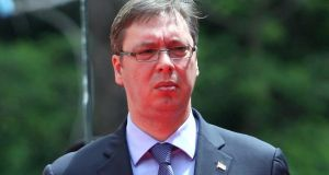 Serb prime minister Aleksandar Vucic: said a testing month lay ahead for his country and the region. Photograph: Gent Shkullaku/AFP/Getty Images