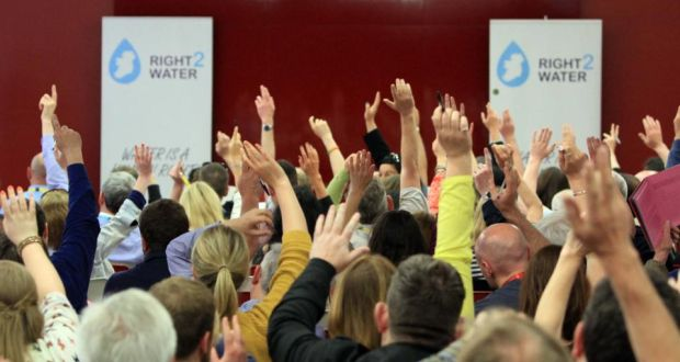 A show of hands on a vote at  the Right2Water campaign policy conference organised by  trade unions in Dublin on Saturday, June 13th. Photograph: Nick Bradshaw