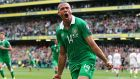 Jonathan Walters celebrates after giving the Republic of Ireland a 1-0 lead in the Euro 2016 Group D qualifier against Scotland at the Aviva Stadium. Photo:   Cathal Noonan/Inpho
