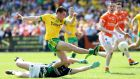 Martin O'Reilly scores Donegal's second goal in their comfortable Ulster Championship win over Armagh. Photograph: Inpho