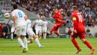Jack Wilshere scores his and England's second goal against Slovenia at the Stozice Arena in Ljubljana. Photograph: Stu Forster/Getty Images
