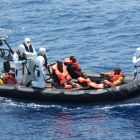 An image of an recent LÉ Eithne rescue operations in the Mediterranean Sea.