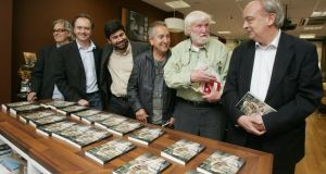 Enrique Vila-Matas, right, with fellow Spanish writers Jordi Soler, Antonio Soler, Malcom Otero and Jose Antonio Garriga Vela and the late Dermot Healy, members of The Order of the Finnegans, launching their book on the subject at the Cervantes Institute in Dublin in 2010. Photograph: Alan Betson