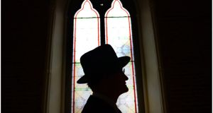 John Shevlin dressed as James Joyce at Smock Alley Theatre, Dublin, in 2012. Photograph:   Bryan O'Brien