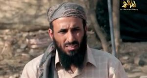 File photograph from a video showing Al Qaeda chief Nasir al-Wuhayshi who has been killed in a US bombing. Photograph: AFP/Getty Images