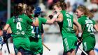 Ireland players congratulate Megan Frazer after setting up goalscorer Anna O' Flanagan to score their second goal. Photo: David Aliaga/INPHO