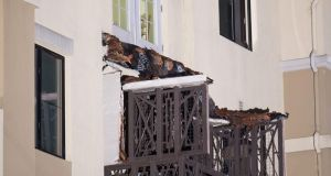 A fourth floor balcony rests on the balcony below after collapsing at the Library Gardens apartment complex in Berkeley, California killing six Irish students. Photograph: AP Photo/Noah Berger