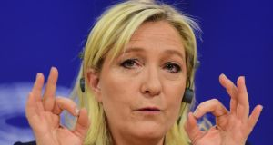 France's National Front (FN) leader Marine Le Pen holds a press conference at the European Parliament on Tuesday to announce a new grouping of European far-right parties. Photograph: AFP Photo/ Emmanuel Dunand