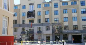 The scene of a balcony collapse at Library Gardens Apartments in downtown Berkeley, California where at least six Irish students were killed. Photograph: AP