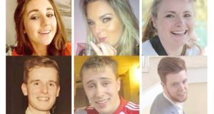 Six Irish students have been confirmed dead in Berkeley California. They are (clockwise from top left): Eimear Walsh (21), Olivia Burke (21), Ashley Donohoe (22), Lorcán Miller (21), Niccolai Schuster (21) and Eoghan Culligan (21).