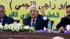 Palestinian president Mahmoud Abbas addressing the Revolutionary Council in the West Bank town of Ramallah. Photograph: OSAMA FALAH/EPA