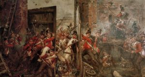 Closing the Gates at Hougoumont, 1815 painted by the Victorian artist Robert Gibb, which shows a vital moment during the Battle of Waterloo.