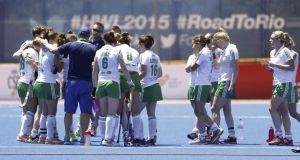 A dejected Ireland team after their World League quarter-final defeat to China on Thursday. Photograph: Epa