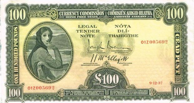 An Ireland Currency Commission Lady Lavery One Hundred Pound Note Sold For 3 600
