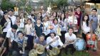Trash band: The Cateura Orchestra of Recycled Instruments in front of their music school in Cateura, Paraguay. Photo: Landfill Harmonic