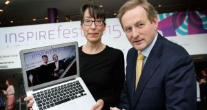 Taoiseach Enda Kenny and Ann O'Dea, CEO, Silicon Republic at Inspirefest held in the Bord Gais Energy Theatre, Dublin.