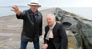 Gay Byrne, the 'cranky 81-year-old who used to live in Howth'; and businessman Harry Crosbie on Dublin's Great South Wall. Photograph: Eric Luke