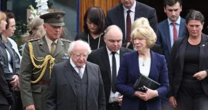 President Michael D Higgins, his wife Sabina and other mourners at the UCD memorial Mass for those who died at Berkeley. Photograph: Nick Bradshaw