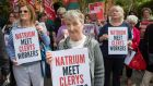 Lily Kelly, who would have worked for Clerys for 45 years this day fortnight and was due to retire, with other former staff  protesting outside the offices of  new owners Natrium on Harcourt Terrace on Friday. Photograph: Fergal Phillips