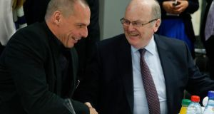 Greek Finance Minister Yanis Varoufakis: 'Regrettably, my presentation was met with deafening silence. Excepting Michael Noonan's apt remark, all other interventions ignored our proposals.' Above, Varoufakis and     Noonan at the start of the European Stability Mechanism (ESM) Board of Governors, ahead of the Eurogroup Meeting of Finance ministers in Luxembourg on Thursday. Photograph: EPA/JULIEN WARNAND