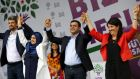 Garo Paylan, Huda Kaya, Selahattin Demirtas and Pervin Buldan celebrate the Kurdish-rooted Peoples' Democratic Party's election victory in Istanbul earlier this month. Photograph: Murad Sezer/Reuters