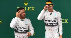 Lewis Hamilton and Nico Rosberg  on the podium after the Austrian grand prix in Spielberg. Photograph: Joe Klamar/AFP/Getty Images