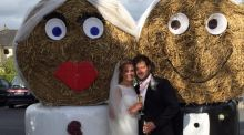 Our Wedding Story: A bride and groom made out of bales of hay were more popular than the couple