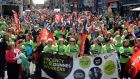 Thousands turned out to march in Dublin city centre earlier this month to demand better working conditions for Dunnes Stores workers, following a one-day strike by workers in April over low-hour contracts and rights to collective bargaining. Photograph: Eric Luke / The Irish Times.