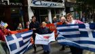 A rally in support of the Greek people was held on Dublin's  Parliaent Street today. Photograph: Cyril Byrne/The Irish Times