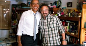 US president, Barack Obama, with  Marc Maron in his garage recording studio after recording an episode of WTF. Photograph: courtesy  the White House press office