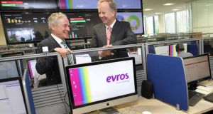 Minister for Jobs Richard Bruton with Evros Technology Group managing director Bob Murray at the group's announcement of 100 new jobs. Photograph: Mark Stedman/Photocall Ireland