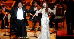 Japanese tenor  Tatsuya Higuchi and South Korean soprano  Sumi Jo perform as part of a gala concert celebrating the 50th anniversary of Japan and South Korea's resumption of normal ties,  in Tokyo on June 22nd. Photograph: Reuters/Shizuo Kambayashi/Pool