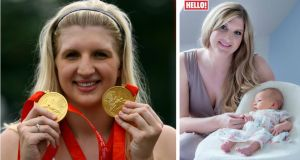 Rebecca Adlington with her Olympic golds, left, and posing for Hello! with Summer, her most prized possession