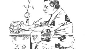 A caricature of the Irish writer Lafcadio Hearn (known in Japan as Koizumi Yakumo) by John H Garney from  1897