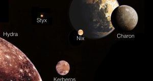 We already know about four tiny moons that orbit Pluto (top of illustration) and its large moon Charon in a chaotic fashion. They follow roughly circular paths but wobble and tumble erratically as they pass close to the two larger bodies. Illustration: Nasa/SETI Institute via the New York Times