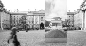 Artist's impression of what the Twin Space structure will look like in Front Square in Trinity College, Dublin.