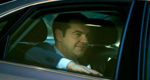 Alexis Tsipras, Greece's prime minister, leaves by car after attending an emergency meeting with the heads of the three creditor institutions in Brussels on Wednesday. Photograph: Jasper Juinen/Bloomberg