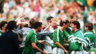 Republic of Ireland players celebrate David O'Leary's winning penalty against Romania in Genoa, on June 25th, 1990. Photograph: Billy Stickland/Inpho
